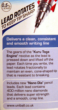 Kuru Toga UK packaging - reverse