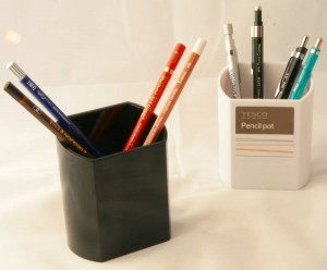 Tesco Pencil pot, black without and white with sticker.