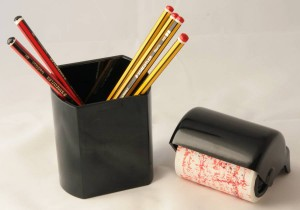 Tesco Pencil pot and a Bakelite blotting roller