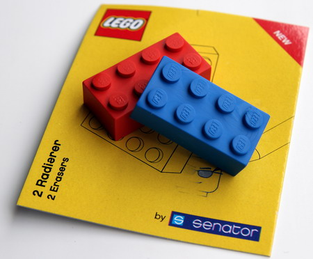 The Lego erasers by Senator (€0.75 each)