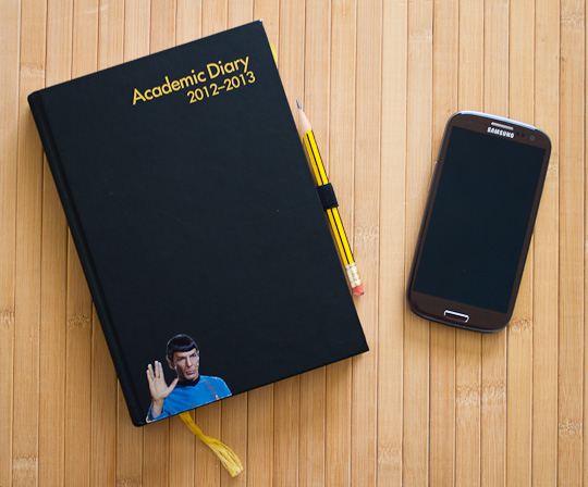A photo from the 2012 blog post where I put a NFC tag in the diary