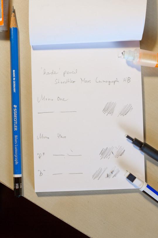 Erasing the harder Staedtler Mars Lumograph HB