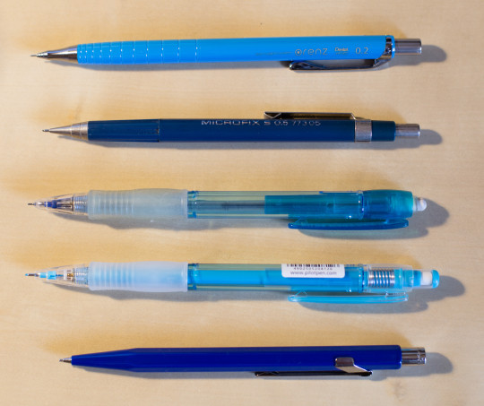 The five different sliding sleeve pencils I have compared