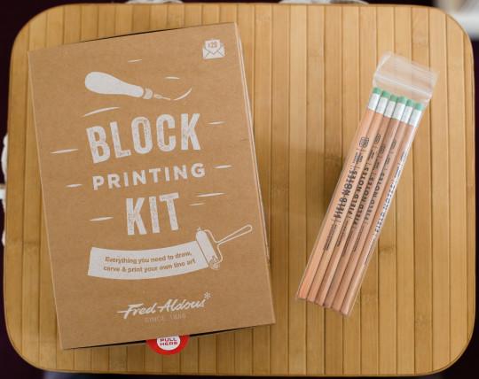 Block printing kit and pencils