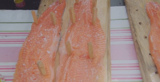 Salmon on cedar planks (Image © BBC)