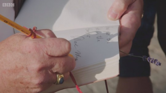 David Myers using the office pencil (Image © BBC)