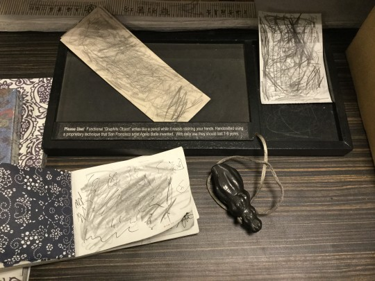 Functional Graphite Object writes like a pencil while resists staining your hands. Handcrafted using a proprietary technique that San Francisco artist Agelio Batle invented.