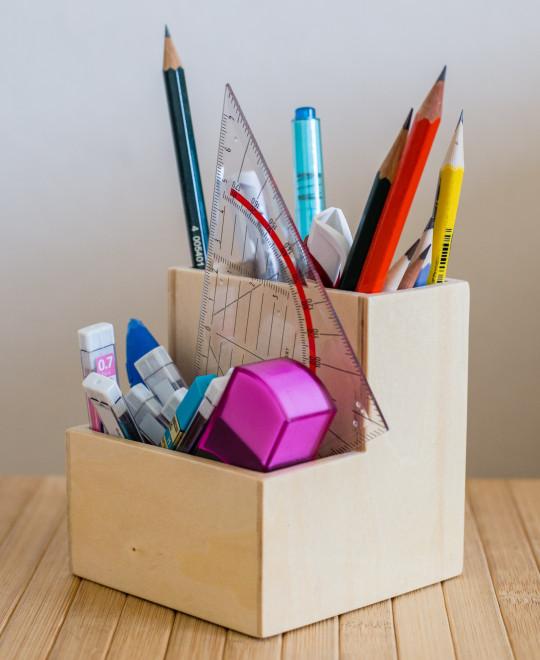 Muji's plywood pencil pot