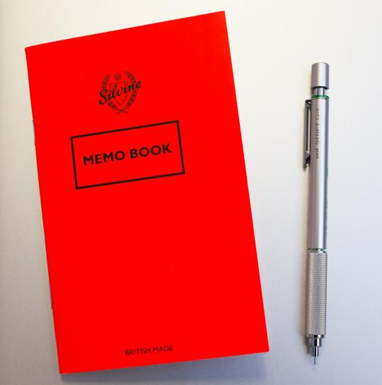 Uni Shift 0.4mm and Silvine Memo Book