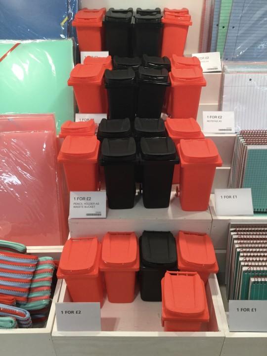 Wheelie bin pencil pots