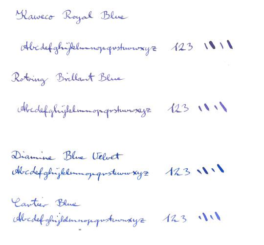 Blue ink comparison Kaweco Rotring Diamine Cartier
