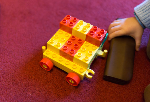 Camers car made out of Duplos