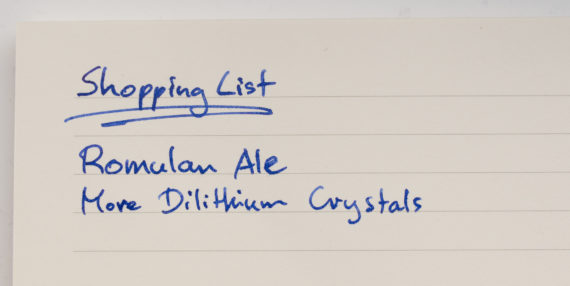 Captain's shopping list
