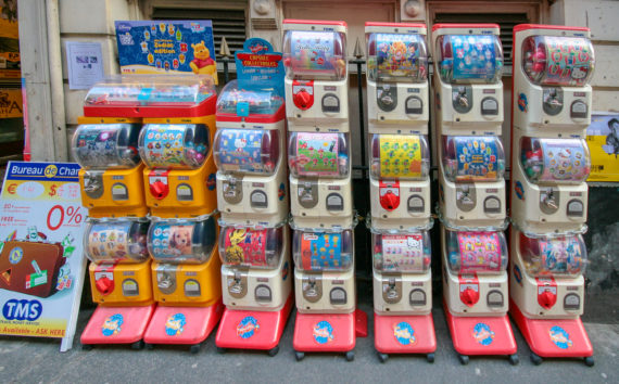I saw these toy capsule vending machines in Manchester's Chinatown (photo from 2007).